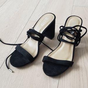 Raid Black Faux Suede Tie-Up Heeled Sandal